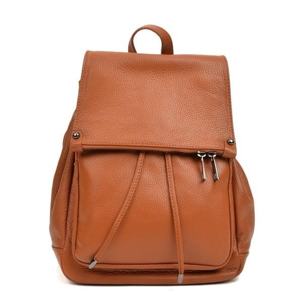 Koňakovohnedý kožený batoh Roberta M Marisso