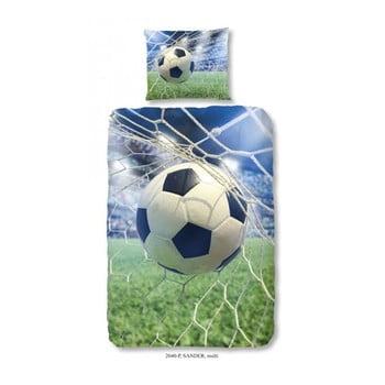 Lenjerie de pat din bumbac pentru copii Good Morning Football Game, 140x200 cm de la Good Morning