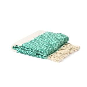 Zeleno-bílý hammam ručník Spa Time Zig, 95x180cm