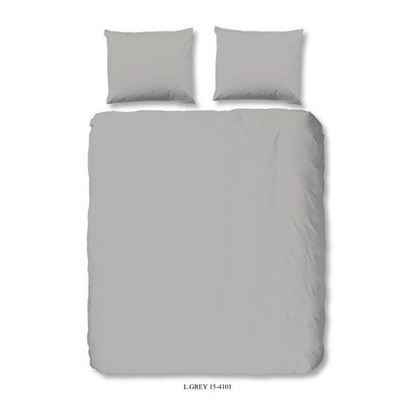 Světle šedé povlečení na dvoulůžko z bavlny Good Morning Uni, 200 x 240 cm