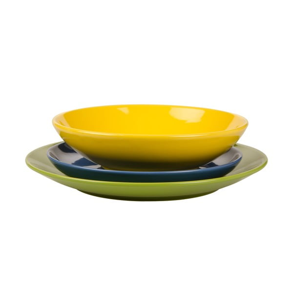 18dílná sada talířů Kaleidos, zeleno-modro-žlutá