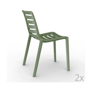 Sada 2 zelených  zahradních židlí Resol Slatkat