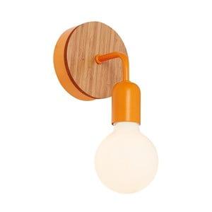 Oranžové nástěnné světlo s dřevěným detailem Valetta