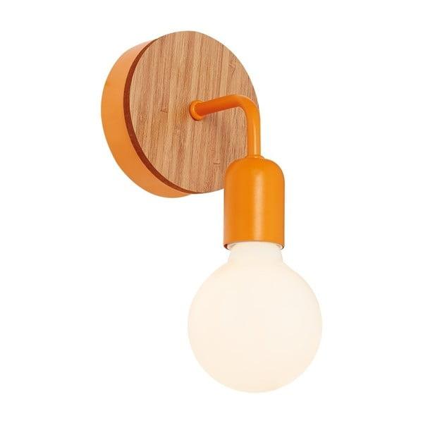 Oranžové nástěnné svítidlo s dřevěným detailem Valetta