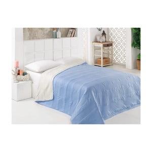 Modro-bílý oboustranný přehoz přes postel z mikrovlákna, 200 x 220 cm