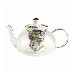 Skleněná čajová konvička Violet s keramickým filtrem