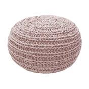 Růžový pletený puf OVERSEAS Natural