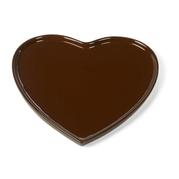 Talíř ve tvaru srdce, 26 cm, tmavě hnědý