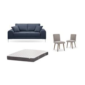 Set dvoumístné tmavě modré pohovky, 2šedobéžových židlí a matrace 140 x 200 cm Home Essentials
