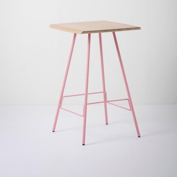 Barový stolík s doskou z masívneho dubového dreva a ružovými nohami Gazzda Leina