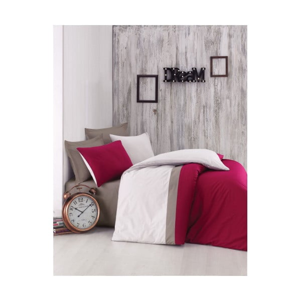 Lenjerie de pat cu cearșaf din bumbac Plain Sport, 200 x 220 cm