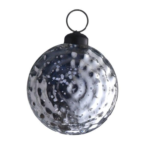 Sada šesti skleněných koulí, 7 cm, antique, stříbrná