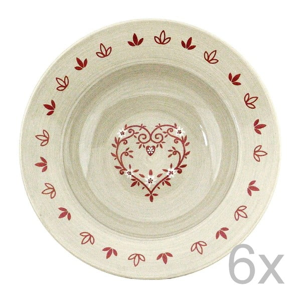 Sada keramických talířů Heart 21,5 cm (6 ks)