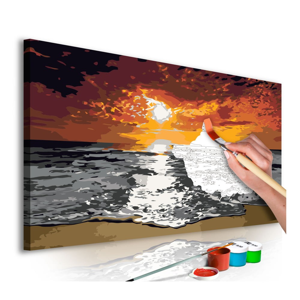 DIY set na tvorbu vlastního obrazu na plátně Artgeist Flames Sky, 80x40 cm