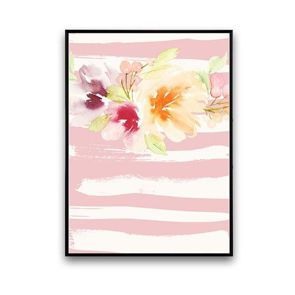 Plakát s květinami, růžovo-bílé pozadí, 30 x 40 cm