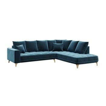 Canapea cu șezlong pe partea dreaptă Chloe albastru închis
