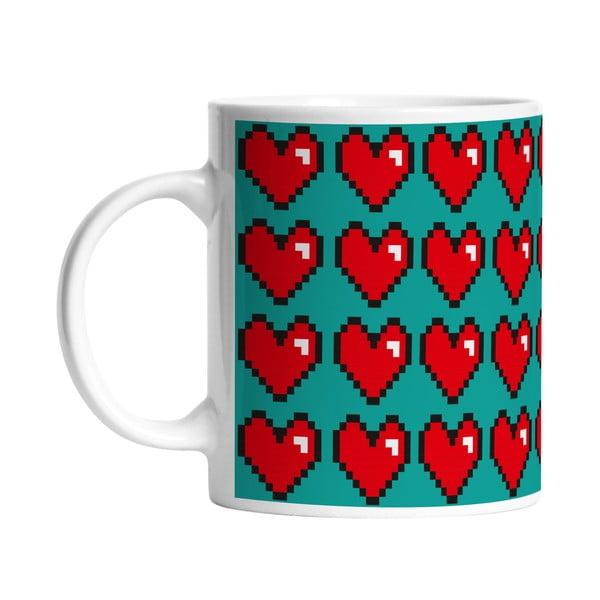 Keramický hrnek Digital Hearts, 330 ml