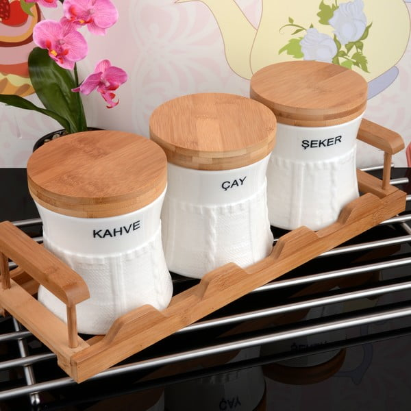 Bambusový stojan se 3 dózami Spices