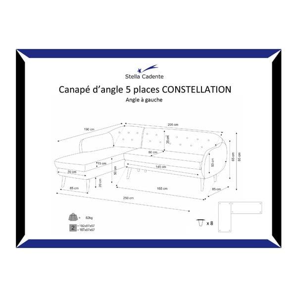 Fialová trojmístná pohovka Scandi by Stella Cadente Maison Maison Constellation, levý roh