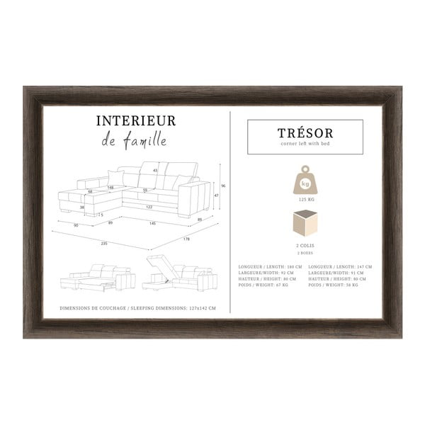 Šedohnědá rozkládací sedačka Interieur De Famille Paris Tresor, levý roh