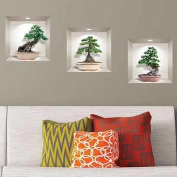 Set 3 autocolante 3D pentru perete Ambiance Ginseng Bonsai