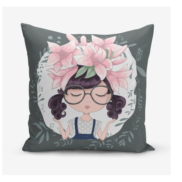 Față de pernă Minimalist Cushion Covers Flower and Girl, 45 x 45 cm