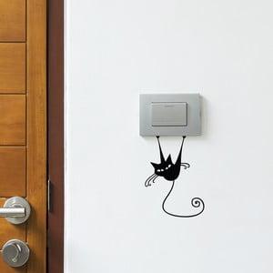 Autocolant negru pentru întrerupător Ambiance Acrobat Cat