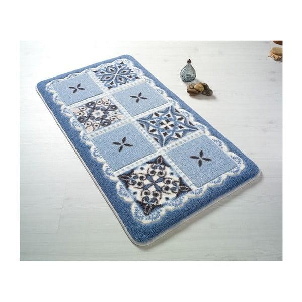 Modrá predložka do kúpeľne Confetti Ceramic, 80×140cm