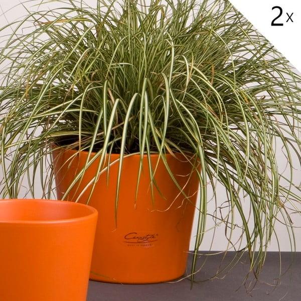 Sada 2 oranžových květináčů Matt, 19 cm
