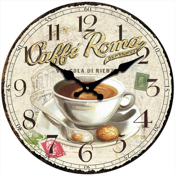 Skleněné hodiny Caffé Roma, 34 cm