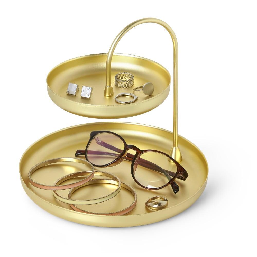 Dvoupatrový stojan ve zlaté barvě na šperky Umbra Poise