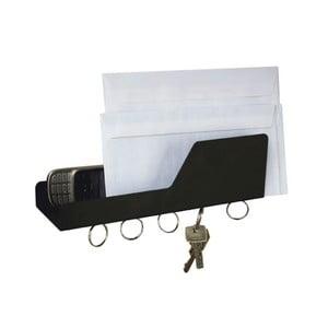 Černý věšák na klíče a dopisy