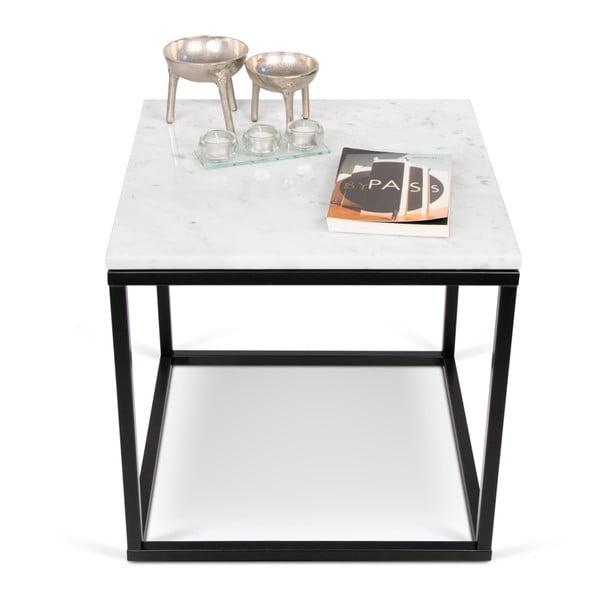 Konferenční stolek s černým podnožím a bílou mramorovou deskou TemaHome Prairie, šířka50cm