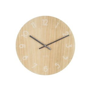 Ceas de perete, de dimensiune medie, Present Time Glass Wood, bej