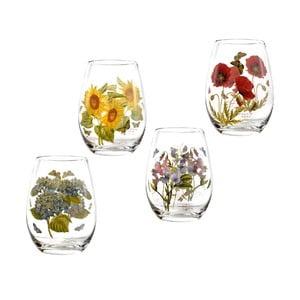 Sada 4 ks skleniček s motivem květin Portmeirion Flower, 570 ml