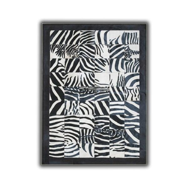 Koberec z pravé kůže Zebra Border, 140x200 cm