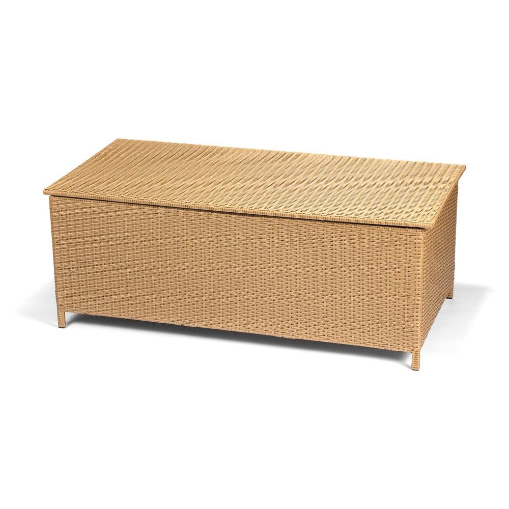 Zahradní ratanový box s úložným prostorem v hnědé barvě Timpana Space, 153 x 78 cm