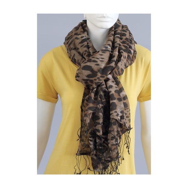 Hnědý žíhaný šátek