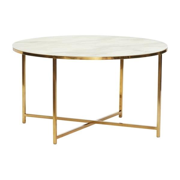 Konferenční stolek s konstrukcí ve zlaté barvě a deskou v dekoru mramoru Hübsch Erica