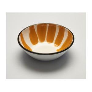 Oranžovobílá smaltovaná miska Kapka Little Color, Ø19cm