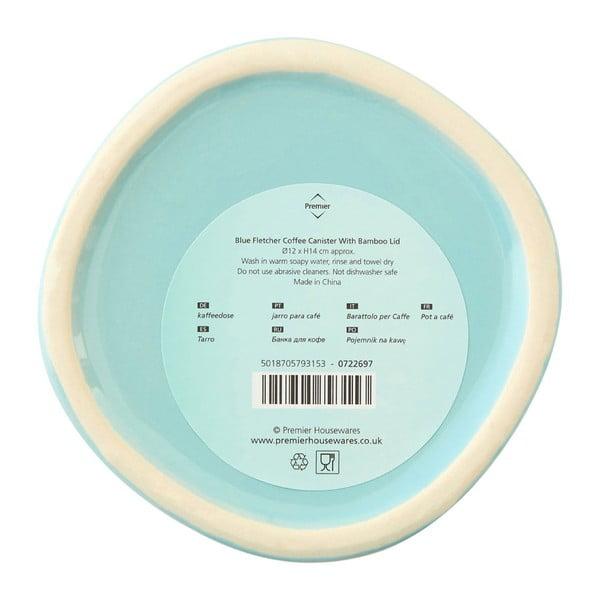 Modrá dóza na kávu s bambusovým víkem Premier Housewares Fletcher, 800 ml