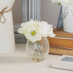 Skleněná váza s umělou květinou Rose, 17 cm
