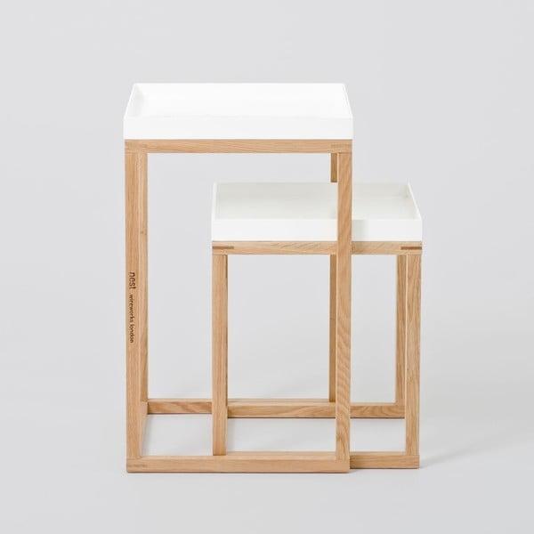 Sada 2 dubových odkládacích stolků s bílou deskou Wireworks Oak