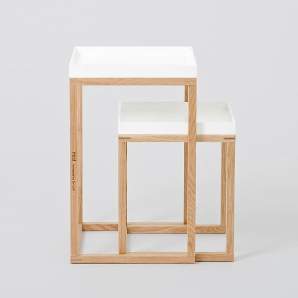 Sada 2 dubových odkladacích stolíkov s bielou doskou Wireworks Oak