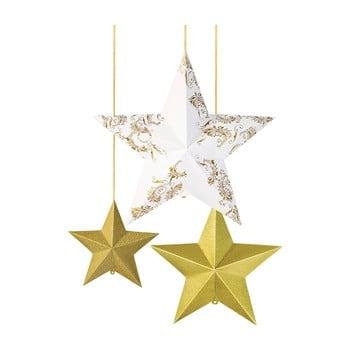 Set 3 decorațiuni suspendate din hârtie, formă stea, Talking Tables