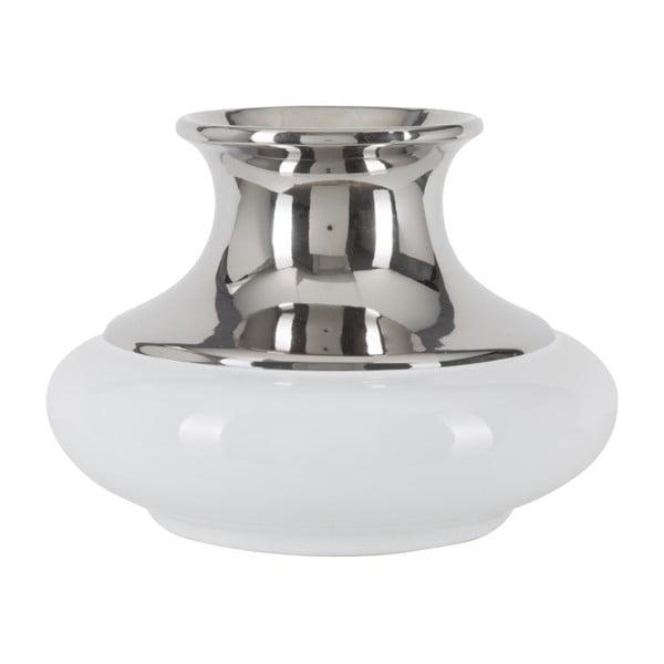 Vază din ceramică Mauro Ferretti Convex A, alb-argintiu