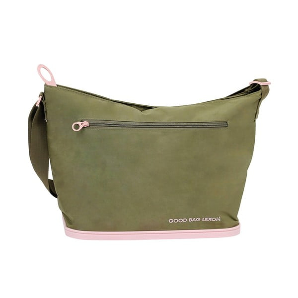 Taška přes rameno Lexon Good s gumovou podrážkou, zeleno-růžová