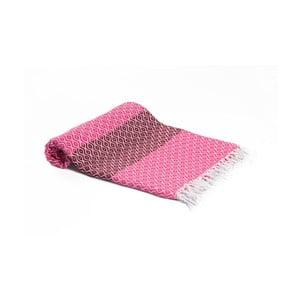 Růžová ručně tkaná osuška Ivy's Belgin, 95x180cm