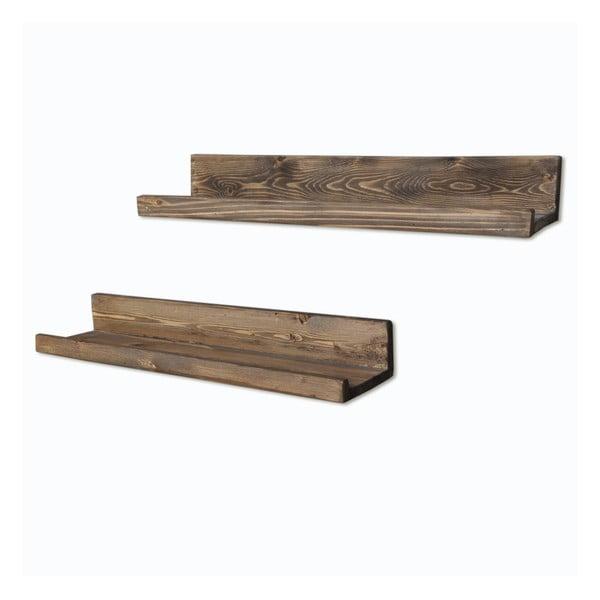 Sada 2 drevených nástenných políc Simple