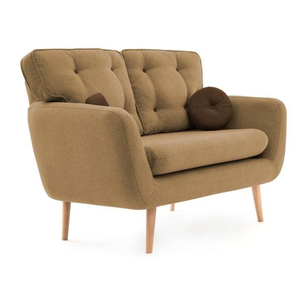 Piaskowa sofa 2-osobowa z brązową poduszką VIVONITA Malva